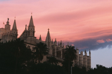 Palma cathedral at sunset in Mallorca