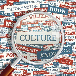 age of magnifying glass highlighting culture and all words associated with culture
