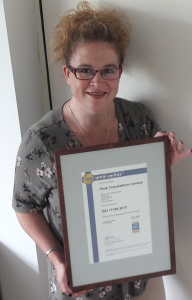 Helen Provart Managing Director with new ISO 17100 certificate
