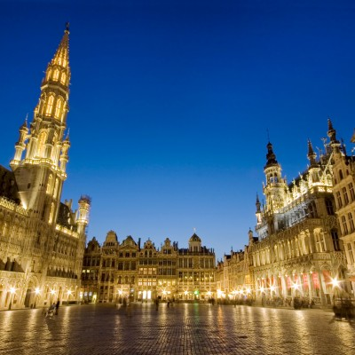 Grand Place from Brussels, Belgium by night with all its light on.