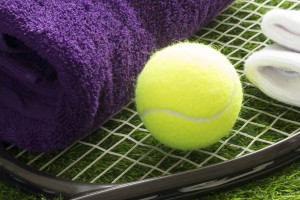 Wimbledon colours using purple and green wimbledon colours of towels and yellow tennis ball