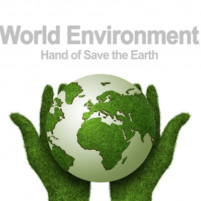 hand of save the earth with white background