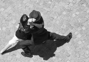 Buenos Aires, Argentina - December 31, 2011: Street Performers dance the Tango in the La Boca (Caminito) tourist district of Buenos Aires.