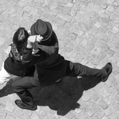 Buenos Aires, Argentina - December 31, 2011: Street Performers dance the Tango in the La Boca(Caminito) tourist district of Buenos Aires.