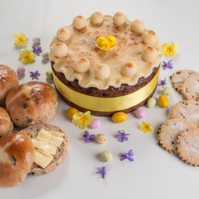 Easter fare, traditional simnel cake ,buns and biscuits