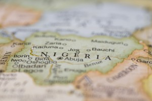 Macro detail of globe Nigeria, narrow depth of field