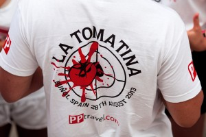 Bunol, Spain - August 28, 2013: A man in a T-shirt with logo on Tomatina festival in Bunol,