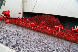 Ceramic poppies outside Imperial War Museum North, Manchester