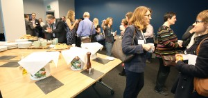 Linguists networking over breakfast at Peak Translations 40th Anniversary Conference
