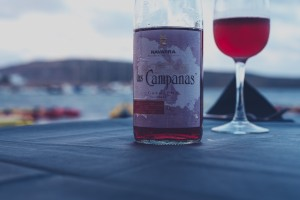 Chilled bottle of Navarra Las Campanas Garnacha rosado with a glass of the rosado next to it on a table