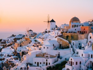 Sunset view of white houses in Santorini