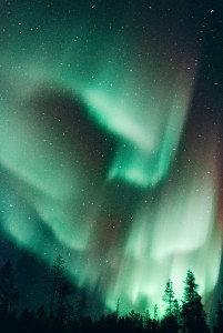 The northern lights in a freezing March night in Ylläsjarvi, a small village in the Finnish Lapland