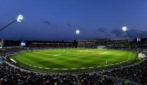 Lit up cricket stadium