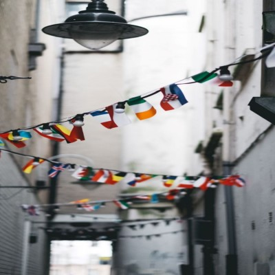 Flag bunting in an alleyway