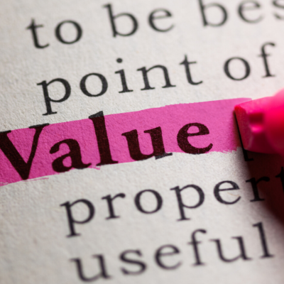 The word 'value' highlighted in pink on a page amongst other words