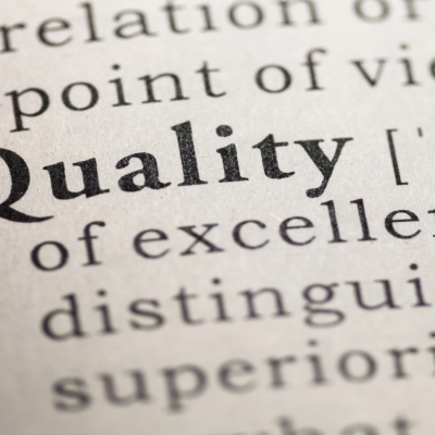 The word quality in bold on a page