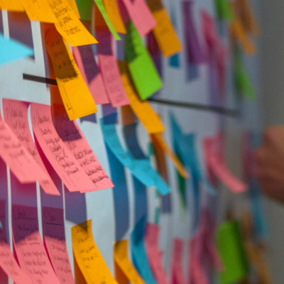 picture of colourful post-it notes on a wall